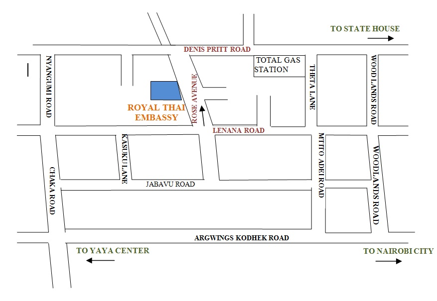 Map of Royal Thai Embassy in Nairobi   Download from the link below.