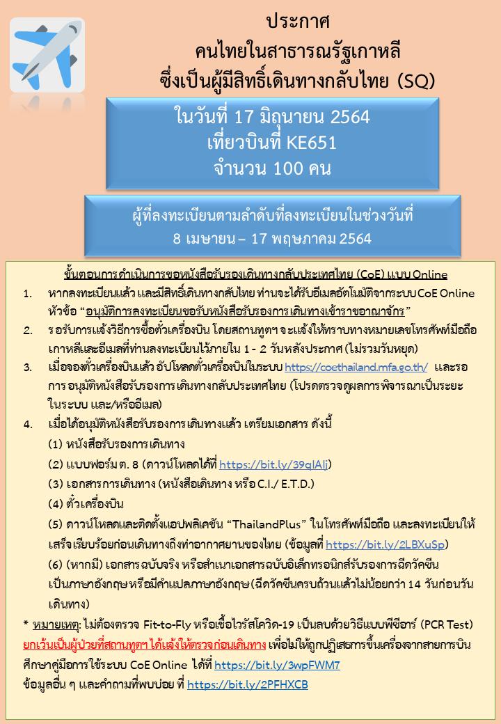 ประกาศลำดับคิวสำหรับผู้มีสิทธิ์เดินทางกลับไทย_17.6.2021